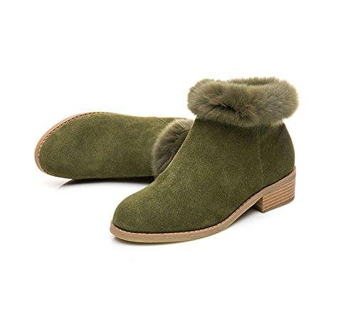 c1ffdcb854dd4 ... JRenok Bloc CM Fermeture 4 Eclair Femme Boots Chaud Hiver Chaussure  Talon Botte avec Vert Chelsea ...