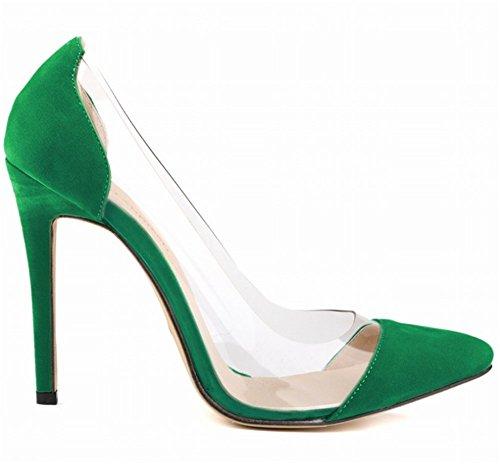 wealsex Escarpins Suédé Sexy Mode Talon Aiguille Bout Pointu Soirée Mariage Talon 11 Cm Femme Vert