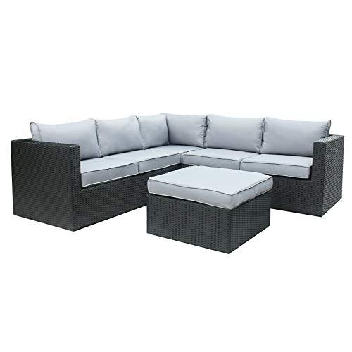 Rattan Polyrattan Lounge Sitzgruppe Garnitur Gartenmöbel 5 Sitze mit Hocker, Aluminium Rahmen,...