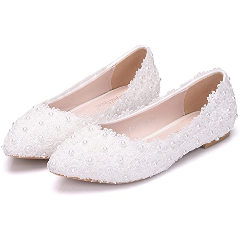 Flower-Ager 01WL Ballerines Femmes Ballerines 01WL Chaussures Blanc Dentelle ApparteHommests De Mariage Bout Pointu Plus La - B07H384WVH - 5106c2