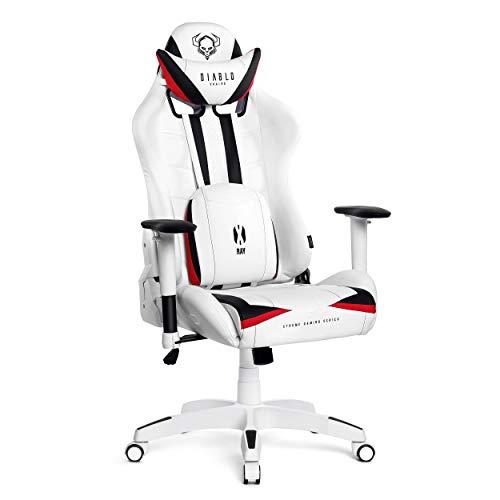 Diablo X-Ray Gaming Stuhl Bürostuhl Schreibtischstuhl 2D Armlehnen Ergonomisches Design Kunstleder Perforation Wippfunktion Belastbarkeit bis 200 kg (weiß-schwarz, XL) -
