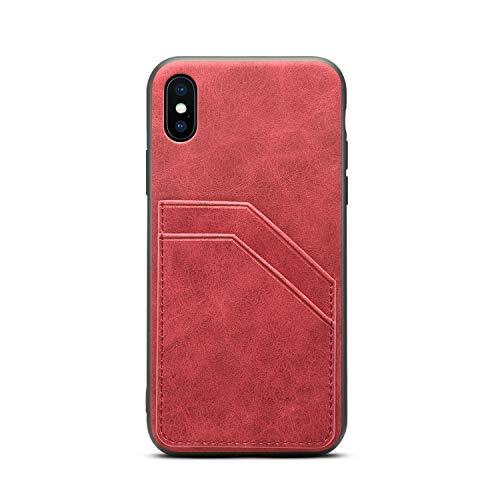 TACOO Slim Case für iPhone X/XS, Leder Soft PU Khaki Schutz Kreditkarten-Halter für Männer Frauen Mädchen Durable Cover Shell Kompatibel mit Apple iPhone 10 2017 5.8 Zoll, iPhone Xs 2018 5.8 Zoll, rot Durable Hard Case