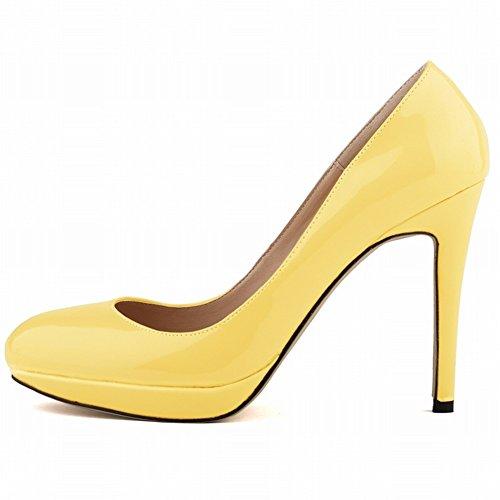 HooH Femmes Platform Glissement Bonbons Couleur Stiletto Escarpins yellow