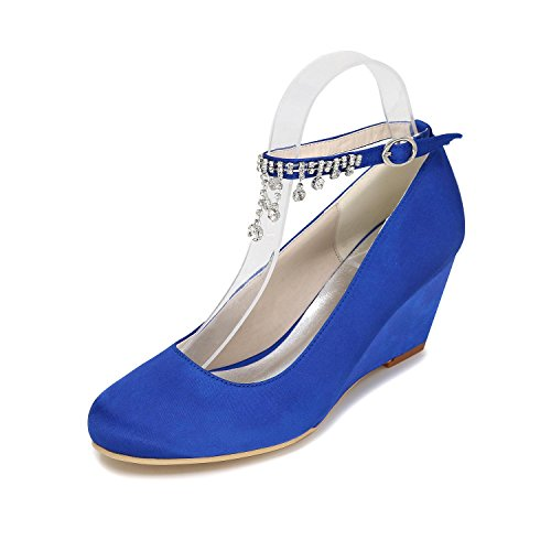 L@YC Scarpe Da Donna Cuneo Scarpe Da Sposa High-Heeled 9140-05 Close Toe Tie Multi-Color Blue