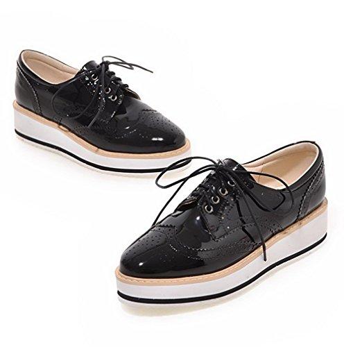 AgooLar Femme à Talon Bas Couleur Unie Lacet Verni Rond Chaussures Légeres Noir