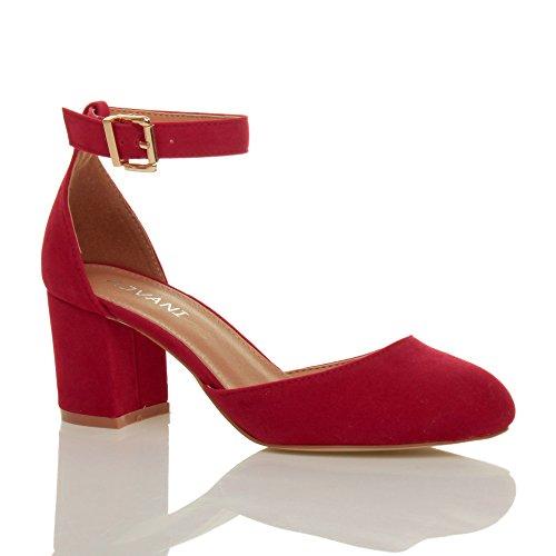 Damen Mitte Blockabsatz Knöchelriemen Schnalle Elegant Pumps Sandalen Größe Rot Wildleder