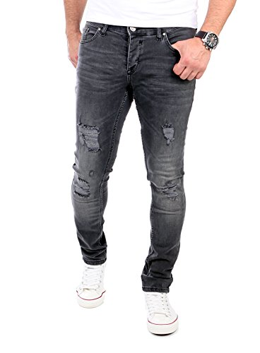 Reslad Jeans Herren Destroyed Look Slim Fit Denim Strech Jeans-Hose RS-2062 Schwarz W31 / L32 (Cut-hose Slim)
