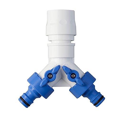 TAKAGI 2-Wege-Verteiler-Ventil Gartenbewässerungszubehör Blau/weiß 4,4x10,6x11,6 cm -
