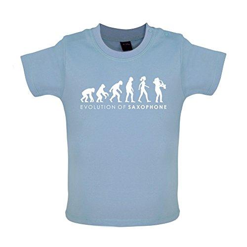 Evolution of Woman - Saxophon - Baby T-Shirt - Taubenblau - 6 bis 12 Monate