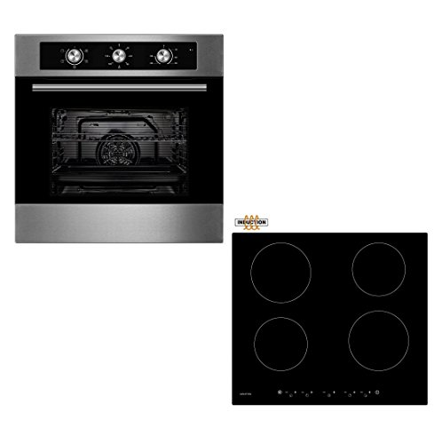 418pJ7bPj0L - Cookology Built-in Electric Fan Forced Oven & 60cm Touch Control 4 Zone Induction Hob Pack (Stainless Steel)