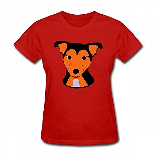 qingdaodeyangguo T Shirt For Women - Design Cute Dog Shirt Red