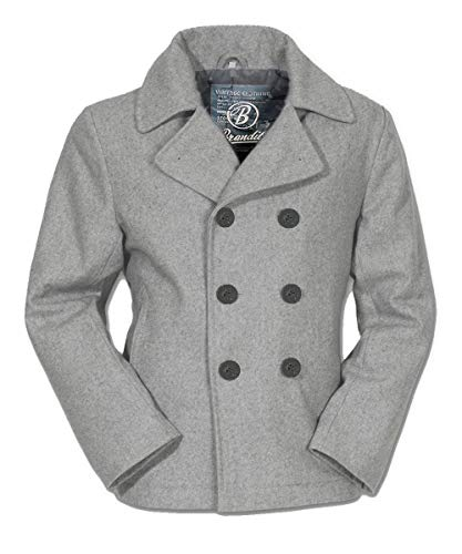 Brandit Bitte Kleiner bestellen Herren Jacke PEA Coat hellgrau | Colani Caban-Jacke als warme Übergangsjacke Hellgrau M