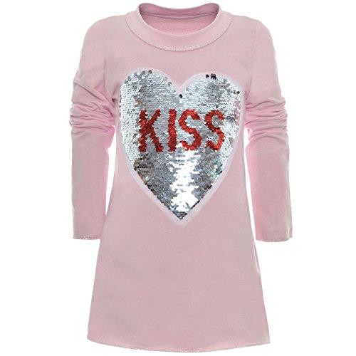 Baumwolle Extra Langes Tunika (BEZLIT Mädchen Tunika Wende-Pailletten Extra Strick Lang Bluse Kleid Langarm 21049 Rosa Größe 140)