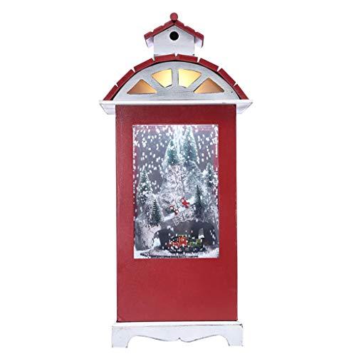 JDGJSF 4,0 Kg Schnee Holzhaus Hängelampe - LED Weihnachtsbeleuchtung - Simulation Schneeeffekt - Dichte Bord Material - 23,5 × 23,5 × 54 cm - Rot -