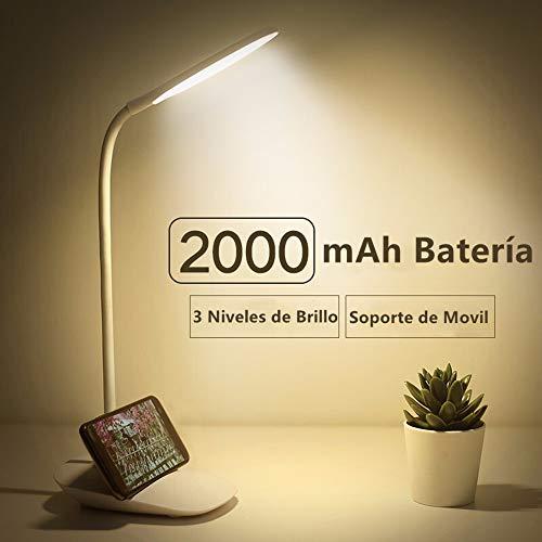 JINPX Luz Lectura Libros Lámpara de Escritorio con 12 LED,3 Niveles de Brillo Luz blanco,Panel Táctil...