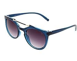 Vast UV Protection Designer Round Unisex Sunglasses (96005Blue|Grey Lens)