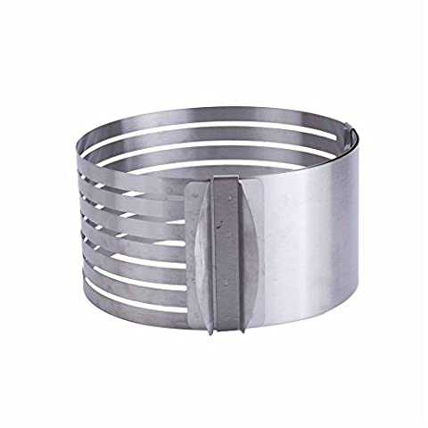 Merssavo Adjustable Round Stainless Steel DIY Mousse Cake Ring Mold Layer Slicer Cutter Silver