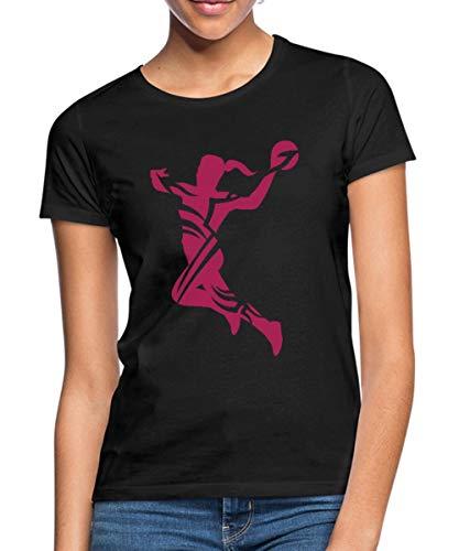Spreadshirt Handballerin Sprungwurf Silhouette Handball Frauen T-Shirt, M (38), Schwarz
