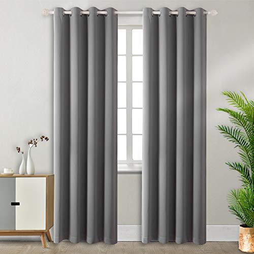 BGment Vorhang blickdichte Vorhänge mit Ösen 228 cm x 117 cm (H x B), Grau 2 Stücke Verdunkelungsvorhänge Isolierung, Dekorative und Undurchsichtig, Schutz der Privatsphäre für Zimmer -