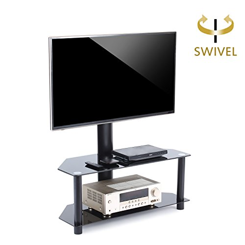 """TAVR Furniture TV Ständer Standfuß fur 32"""" - 50"""" Zoll LCD/LED/Plasma Fernseher Fernsehtisch mit Halterung inkl. Kabelführung mit SchwarzGlas Regale max. 50kg VESA400x400mm"""