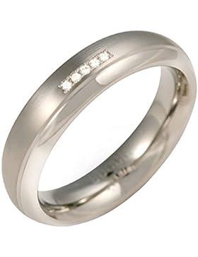 Boccia Unisex-Ring Titan Diamant (0.025 ct) weiß Brillantschliff - 0130-09