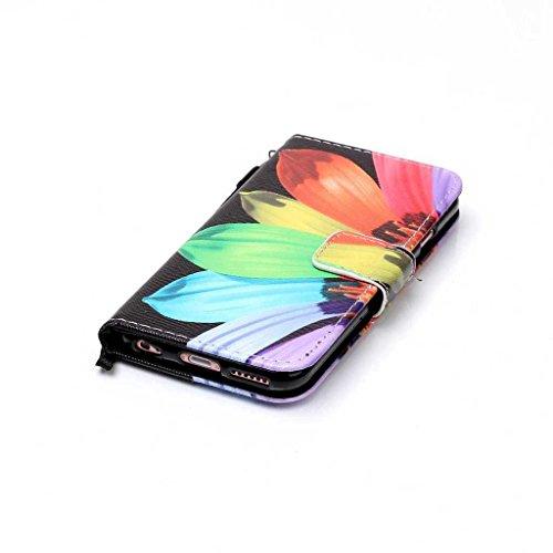 iPhone 6/iPhone 6s custodia in pelle + free tempered glass Screen Protector, Boxtii® [Slim Fit] PU Flip Case con [cinghia] [chiusura magnetica] [card/contanti slot] [cavalletto], modello colorato desi #1 Flower
