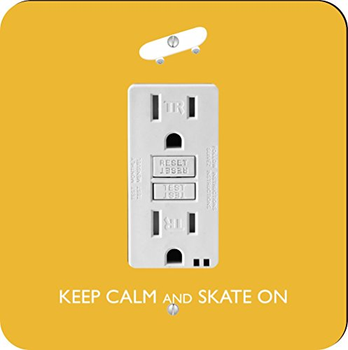 Rikki Knight Keep Calm and Skate on-skateboard-yellow Farbe Single GFI Lampe Switch Plate (Plate Wall Yellow)
