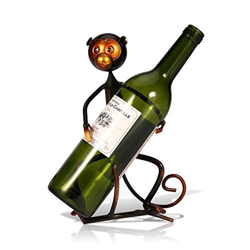 TOOARTS - Soporte de Vino - Mono Divertido - Botellero del Estilo Metálico para Casa Cocina Bar Barra (Artesanía de Hierro) width=