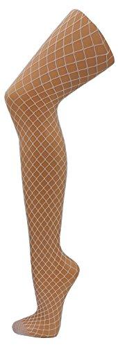 S437X CMG Netzstrumpfhose Pantyhose Damen Strumpfhose verschiedene Maschengrößen und Farben (Weiss-Breitmaschig) (Weiße Farbe Spandex)