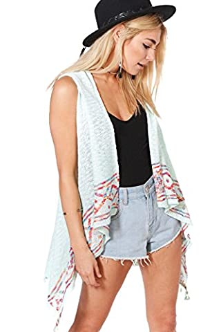 Womens Blue Gemma Aztec Trim Sleeveless Cardigan - ONE SIZE