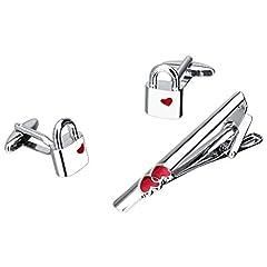 Idea Regalo - D DOLITY Spilla Cravatta Clip Bar Gemelli a Forma Lock con Disegno Cuore Accessorio Da Camicia