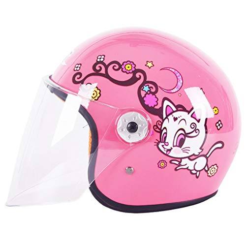 NJ Helm- Elektrische Motorrad Helm Moped Kinder vier Jahreszeiten Universal halbe Helm (Farbe : Pink) - Motorrad-helm Abenteuer