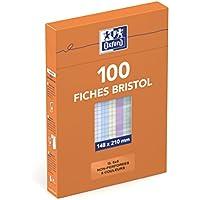 Oxford 21448 Fiche bristol oxford 224g 148 x 210mm non perforée quadrillage 5x5mm Coloris Assortis 100 pièces