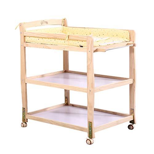 Table à Langer Bébé (avec Panneau Étanche), Commode Portable en Bois, Rangement pour Meubles De Chambre d'enfant avec Roues