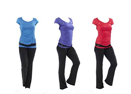 Octave ® T-Shirt de Yoga/Fitness pour femme avec T-Shirt à manches courtes pour l'entraînement Bleu - Bleu