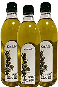 Kinsfolk Pure Olive Oil ((Imported Oil from Spain)) - 1 LTR ((Pack of 3))