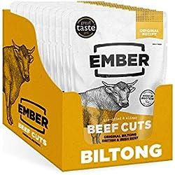 Ember Biltong - Beef Jerky - Cecina de Vaca - Aperitivo alto en Proteínas - Original (Paquete de 10)