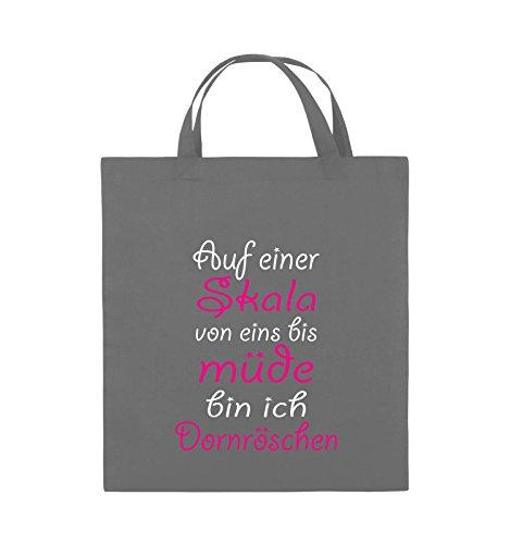 Comedy Bags - Auf einer Skala von eins bis müde bin ich Dornröschen - Jutebeutel - kurze Henkel - 38x42cm - Farbe: Dunkelgrau / Weiss-Pink (Farbe Brautkleider)
