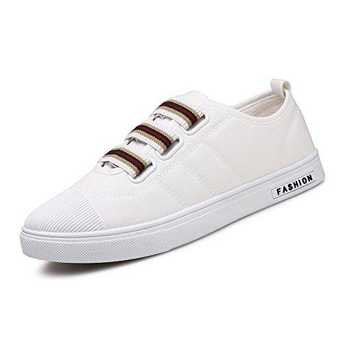 Scarpe da Ginnastica La Sneaker di Moda da Uomo è in Stile Casual con Quattro Stagioni di Bottoni Adesivi Scarpe Sportive (Color : Bianca, Dimensione : 44 EU)