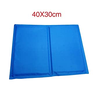 Pet Dog Cat Cool Mat Large Summer Cooling Pet Mattress Ice Pad Dog Sleeping Mat Waterproof Dog Bed Blue Small:40x30CM; Medium:50x40CM;Large:60x45CM (40cmx30cm, 715Grams)