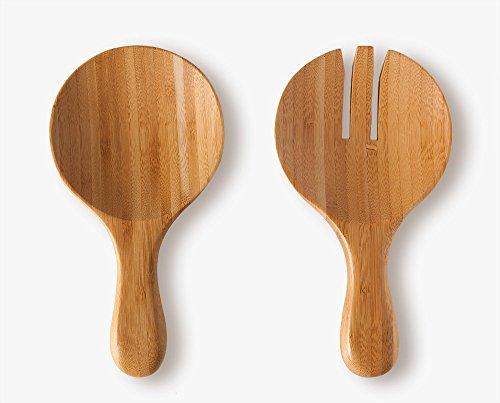 Set 2posate per insalata, in bambù, di alta qualità, 20x 10,5x 2cm, 160g (80g ognuna)