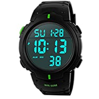 TOPCABIN 50M Waterproof Swimming Sports Watch Boys Girls Led Digital Watches for Men Women Rubber strap Green