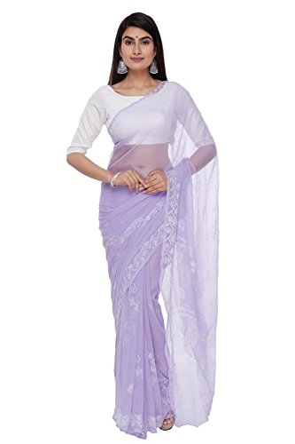 BDS Chikan Hand Embroidered Lucknow Chikankari Purple Georgette Saree with Blouse For...