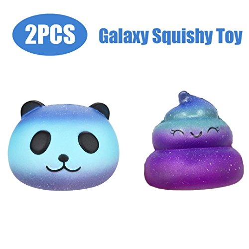 Slow Rising Squishies Starry Panda & Poo, Indexp 2 Packs Simulation Squeeze Cure Toy Cream Scented Charm Kids Adults Key Cell Phone Pendant Strap Collection Gift