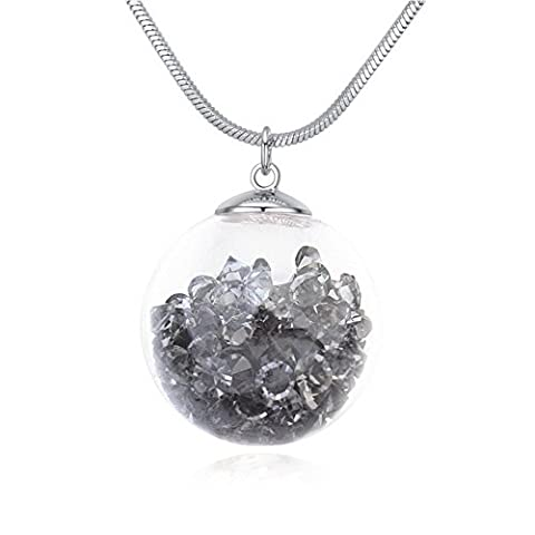Oudora Magic Ball Shaped Style Swarovski Crystal Long Sweater Chain Pendant Necklace