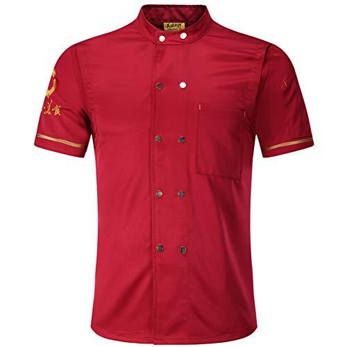 Best 4U Unisex Herren Kochjacke Kurzarm Baumwolle Küche Hotel Kochkleidung Uniform Berufsbekleidung mit knöpfen,Red,L