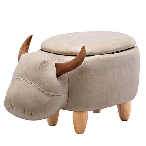 IWMH Hocker Tier, Lagerstuhl, Kreativer Kinderhocker, Schuh Hocker, Massivholz Fußhocker, Massivholz Sofa Hocker (Wasserbüffel)