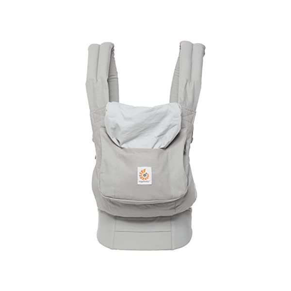 "Ergobaby Front and Back Original Baby Carrier, Pearl Grey Ergobaby Ergonomic baby carrier - ergonomic for baby with wide deep seat for a spread-squat, natural ""m"" seated position. Baby carrying system with 3 carry positions:  front-inward, hip and back. from baby to toddler: 5.5*-20 kg Maximum wearing comfort - lumbar support waist belt (adjustable from 66-140 cm / 26-52 in) that can be adjusted to the height of the carry position. 8"
