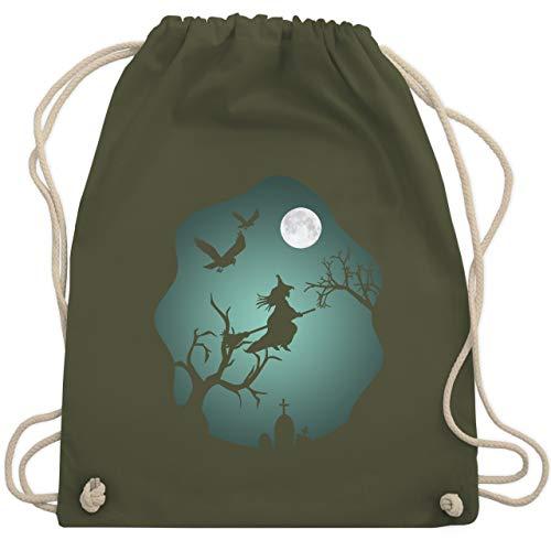 Halloween - Hexe Mond Grusel Grün - Unisize - Olivgrün - WM110 - Turnbeutel & Gym Bag