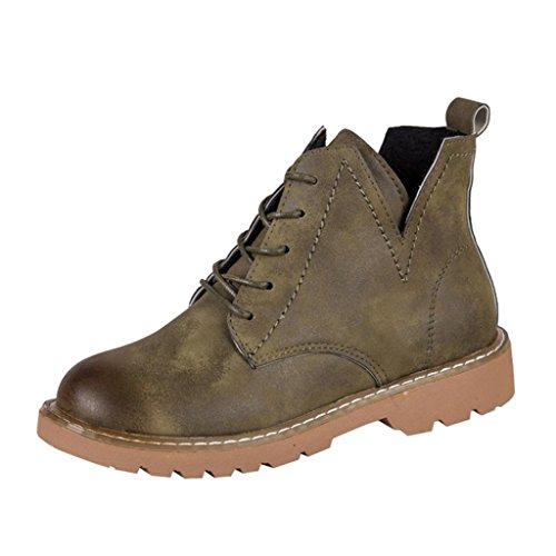 UFACE Damen Stiefel Vorne mit Rutschfesten Schuhen Niedrige Knöchelabschluss Flache Runde Zehe Knöchel Leder Stiefel Casual Schuhe(Armeegrün,35 EU)